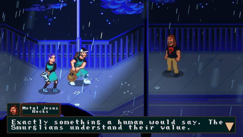 En av spelets första bossar: MetalJesusRocks.