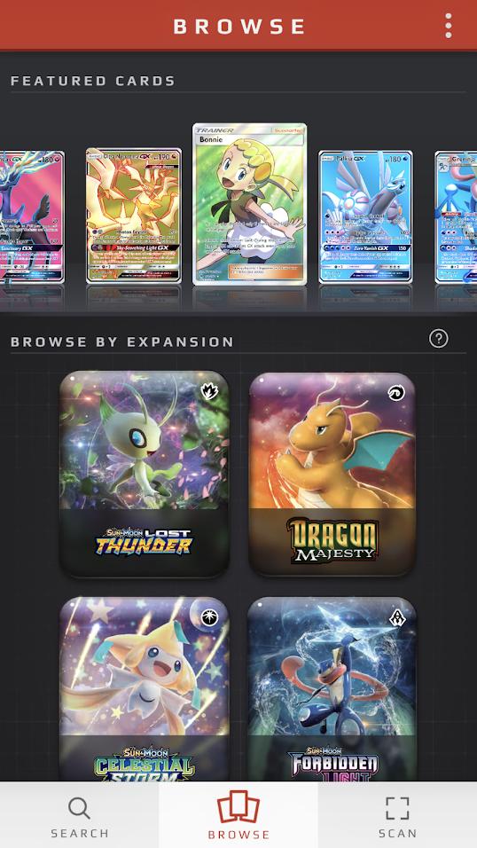 En bild på huvudmenyn i Pokémon TCG Card Dex.