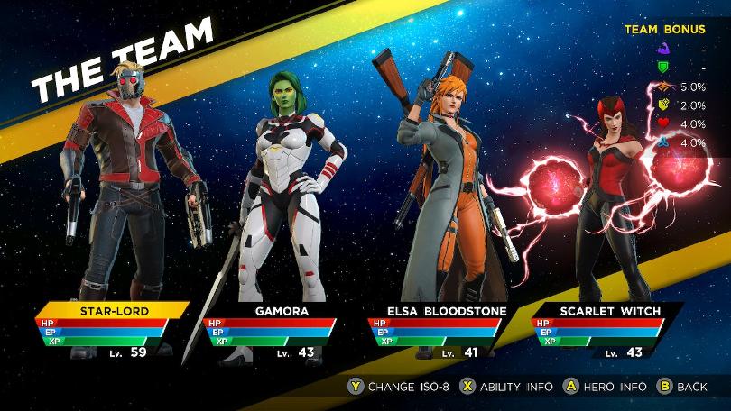 Star-Lord, Gamora, Elsa Bloodstone och Scarlet Witch. I den ordningen.