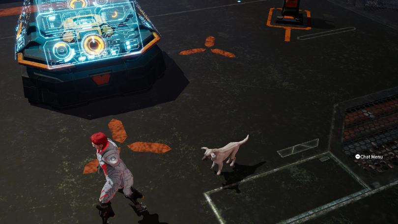 Du kan inte klappa hunden i Daemon X Machina, men den kan följa efter dig, som på den här bilden.
