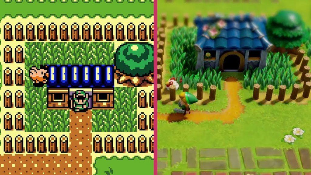 Link's Awakening från 1999 och 2019, sida vid sida.