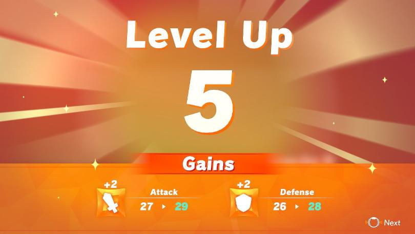 Statusökningarna vid nivåökning i Ring Fit Adventure kallas för gains.