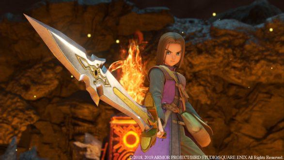 Dragon Quest XI, den utvalde drar sitt svärd.
