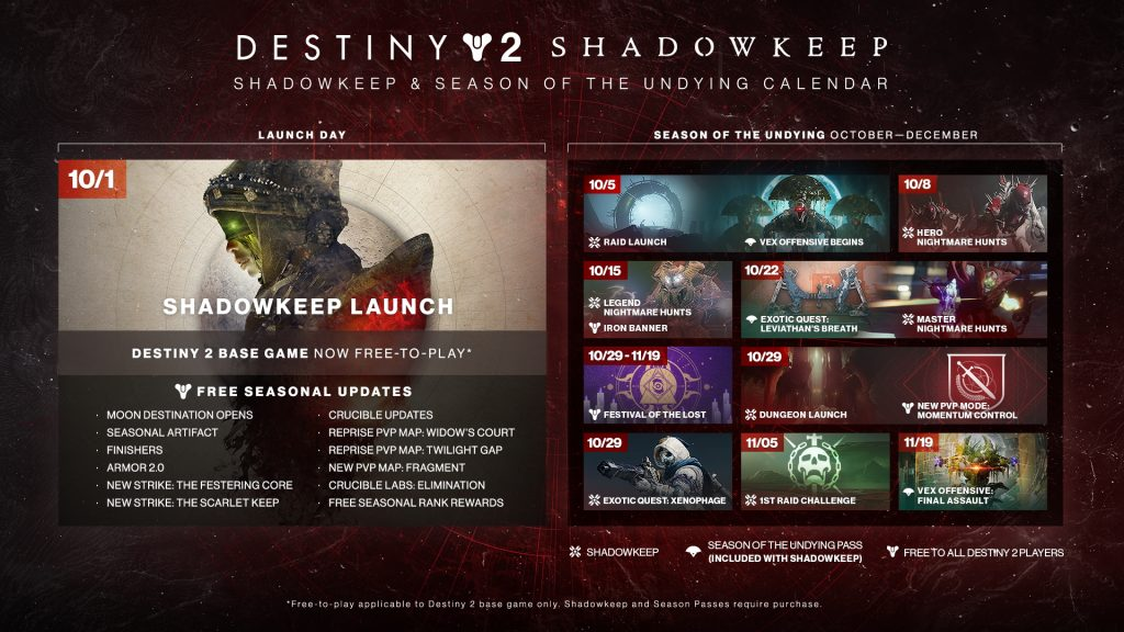 Destiny 2: Shadowkeep kalender.