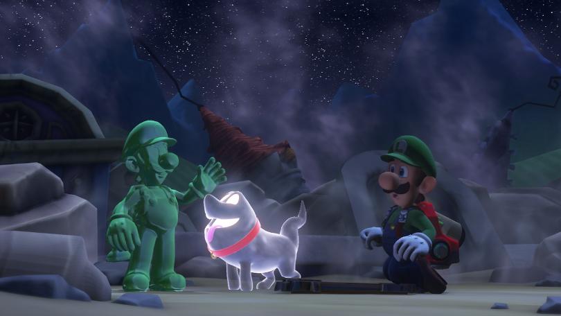 Luigi's Mansion 3: Gooigi, Luigi och Polterpup.