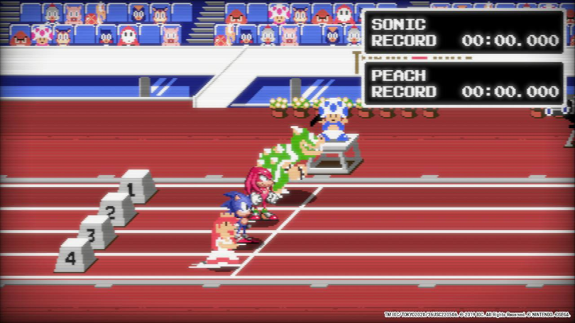 Mario & Sonic at The Olympic Games Tokyo 2020: Hundra meter häck i retrotappning med Peach, Sonic, Knuckles och Bowser.