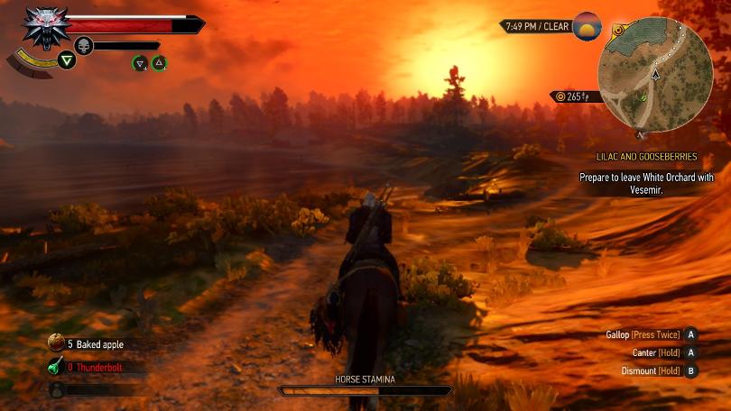 The Switcher (Witcher 3 på Switch): En överdådigt ljustung solnedgång i ett av spelets första områden.