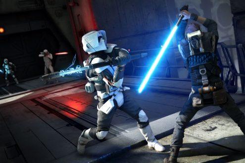 Jedi: Fallen Order: En Scout-trooper är på väg att få smaka ljussabel.