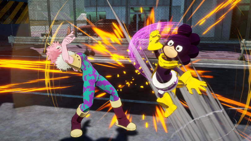 Mineta attackerar Mina, My Hero One's Justice 2.