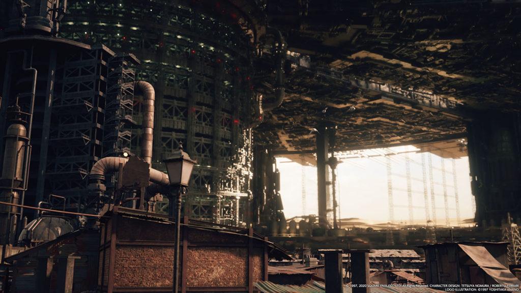 Final Fantasy VII Remake Midgar sett från slummen.