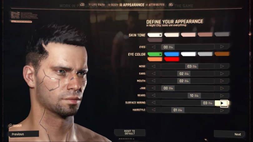 Customize your look in Cyberpunk 2077.