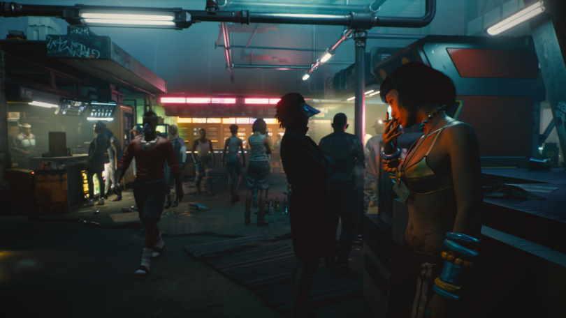 En marknad i Pacifica från Cyberpunk 2077.
