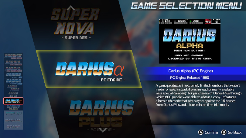 Darius Cozmiz Collection Console menu