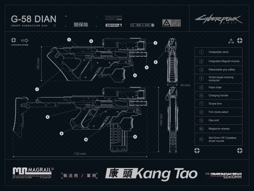 Smart weapon from Kang Tao in Cyberpunk 2077.