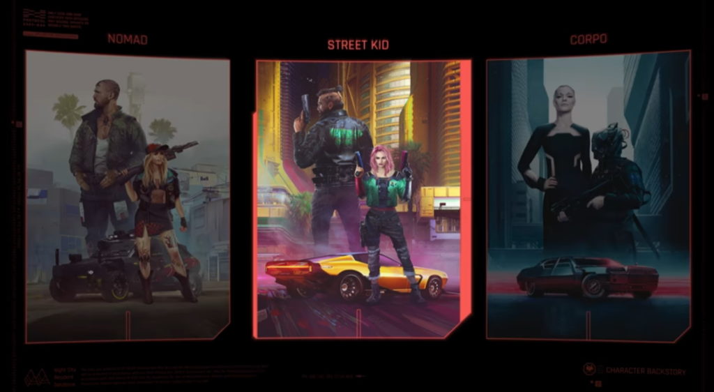 Lifepath election in Cyberpunk 2077.
