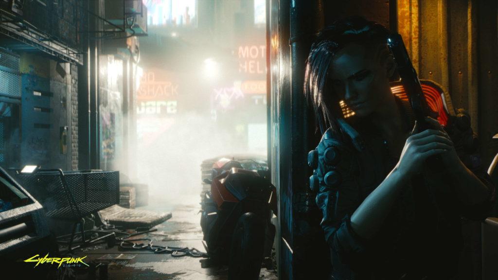 V is hiding in an alley in Cyberpunk 2077.