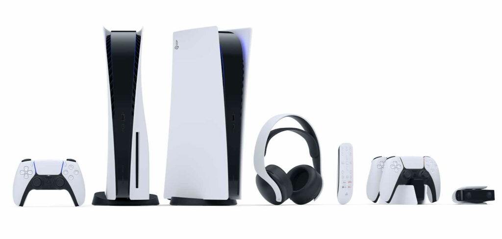 Playstation 5 och tillbehören.